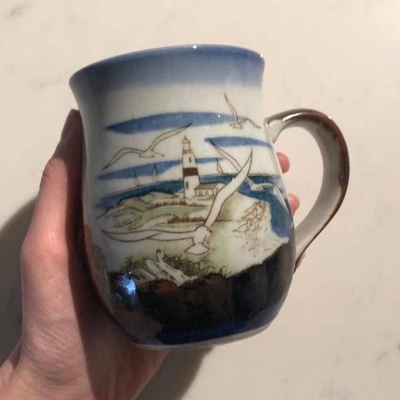 Vintage seagull lighthouse mug